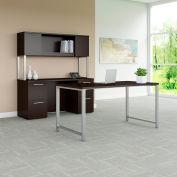 "Bush Furniture 60""W Table Desk with Credenza and Hutch - Mocha Cherry - 400 Series"