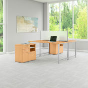 "Bush Furniture 60""W Workstation with Table Desks and Storage - Natural Maple - 400 Series"