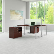 "Bush Furniture 60""W Workstation with Table Desks and Storage - Harvest Cherry - 400 Series"