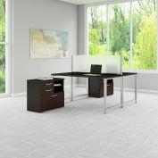 "Bush Furniture 60""W Workstation with Table Desks and Storage - Mocha Cherry - 400 Series"