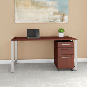 """Bush Furniture 60""""W Table Desk with 3 Mobile File Cabinet - Harvest Cherry - 400 Series"""