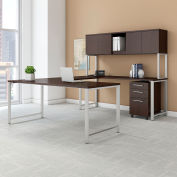 "Bush Furniture 72""W U-Shaped Table Desk with Hutch - File - Mocha Cherry - 400 Series"