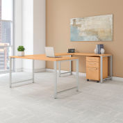 "Bush Furniture 60""W U-Shaped Table Desk with Mobile File - Natural Maple - 400 Series"
