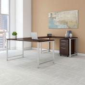 "Bush Furniture 60""W U-Shaped Table Desk with Mobile File - Mocha Cherry - 400 Series"