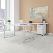 "Bush Furniture 60""W U-Shaped Table Desk with Mobile File - White - 400 Series"