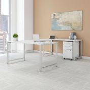 "Bush Furniture 60""W U-Shaped Table Desk with Mobile File - White - 400 Series"