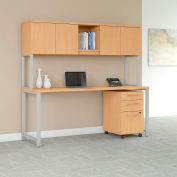 "Bush Furniture 72""W Table Desk with Hutch and Mobile File - Natural Maple - 400 Series"