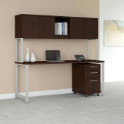 "Bush Furniture 72""W Table Desk with Hutch and Mobile File - Mocha Cherry - 400 Series"
