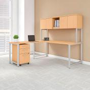 """Bush Furniture 72""""W L-Desk with Hutch - Return - Mobile File - Natural Maple - 400 Series"""