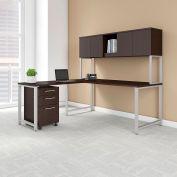 """Bush Furniture 72""""W L-Desk with Hutch - Return - Mobile File - Mocha Cherry - 400 Series"""