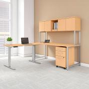 "Bush Furniture 72""W L-Desk/Adjustable Return/Hutch/Storage - Natural Maple - 400 Series"