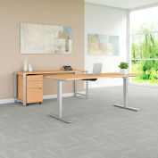 "Bush Furniture 72""W Height Adjustable Desk/Credenza/Storage - Natural Maple - 400 Series"