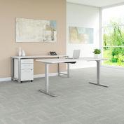 """Bush Furniture 72""""W Height Adjustable Desk/Credenza/Storage - White - 400 Series"""