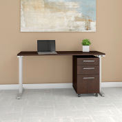 "Bush Furniture 60""W Table Desk with Mobile File Cabinet - Mocha Cherry - 400 Series"