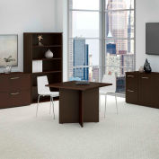"""Bush Business Furniture 36""""W Square Conference Table with Wood Base in Mocha Cherry"""