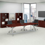 """Bush Business Furniture 120""""W x 48""""D Boat Shaped Conference Table with Metal Base in Harvest Cherry"""