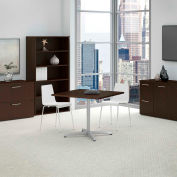 "36"" Square Conference Table Kit w/Metal X Base, Mocha Cherry"
