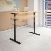 "Bush 60""W x 30""D Height Adjustable Standing Desk - Natural Maple - Black Frame - Move 80 Series"