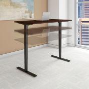 "Bush 72""W x 30""D Height Adjustable Standing Desk - Mocha Cherry Satin - Black Frame - Move 80 Series"
