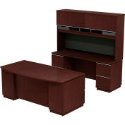 Milano2 Bowfront Double Pedestal Desk w/Credenza & Tall Overhead, Harvest Cherry