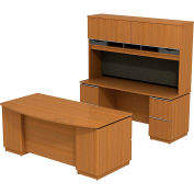 Milano2 Bowfront Double Pedestal Desk w/Credenza & Tall Overhead, Golden Anigre