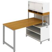 Momentum Desk w/Open Storage, Overhead w/Doors and Riser, Modern Cherry