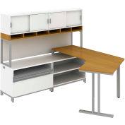 Momentum Right Desk in LH L-Configuration w/Overhead w/Doors, Storage & Piler/Filer, Modern Cherry