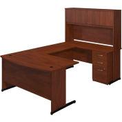 Bush Furniture U Desk with Hutch and Pedestal - Hansen Cherry - Series C Elite