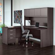 """Bush Furniture 72"""" L-Desk with Hutch, Mobile File Cabinet & 42"""" Return- Storm Gray - Studio C Series"""