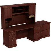Syndicate Double Pedestal Desk w/Tall Overhead Storage & Lateral File, Harvest Cherry