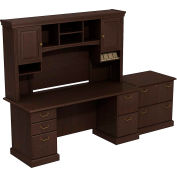 Syndicate Double Pedestal Desk w/Tall Overhead Storage & Lateral File, Mocha Cherry