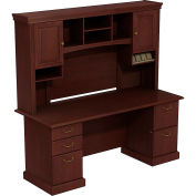 Syndicate Double Pedestal Desk w/Tall Overhead Storage, Harvest Cherry