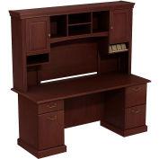 Syndicate Double Pedestal Desk w/Tall Overhead Storage (B/B/F, F/F), Harvest Cherry