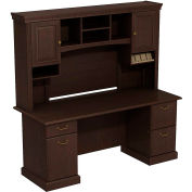 Syndicate Double Pedestal Desk w/Tall Overhead Storage (B/B/F, F/F), Mocha Cherry