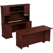 Syndicate Double Pedestal Desk w/Credenza and Tall Overhead Storage, Harvest Cherry