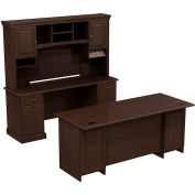 Syndicate Double Pedestal Desk w/Credenza and Tall Overhead Storage, Mocha Cherry