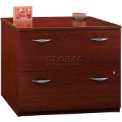 Bush Furniture Lateral File Cabinet, 2 Drawer with Double Handle Pulls - Mahogany - Series C