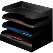 Classic™ 4 Tier Letter Size Horizontal Desk Tray - Black