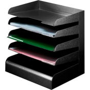 Classic™ 5 Tier Letter Size Horizontal Desk Tray - Black