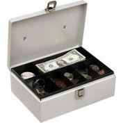 Metal Cash Box With Handle - Platinum - Pkg Qty 6