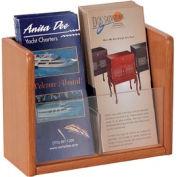 Single Pocket Literature Brochure Holder - Medium Oak
