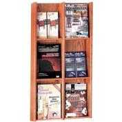 6 Pocket Literature or 12 Pocket Brochure Rack - Medium Oak