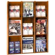 9 Pocket Literature or 18 Pocket Brochure Rack - Medium Oak