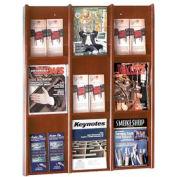9 Pocket Literature or 18 Pocket Brochure Rack - Medium Cherry
