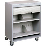 Sandusky Buddy Locking HIPAA Medical Cart with Tambour Door, Platinum