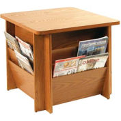 Table with Literature Rack - Medium Oak
