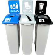 Busch Systems Waste Watcher Triple - Cans & Bottles/Paper/Waste, 69 Gallon, Gray - 100992