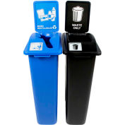 Busch Systems Waste Watcher Double - Waste & Mixed Recyclables, 46 Gallon, Blue/Black - 101050