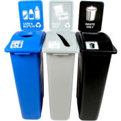 Busch Systems Waste Watcher Triple- Cans & Bottles/Paper/Waste, 69 Gal. Blue/Gray/Black- 101071