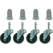 "Bevco CAR4-1I Single 2"" Rubber Wheel Casters, Set of 4"